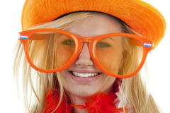 Female dutch soccer fan Royalty Free Stock Photography