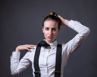 Female Editorial On Masculinity. Slender caucasian female editorial style portrait of masculinity Royalty Free Stock Images
