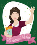 Female Educator Receiving her Bouquet Gift in Teachers Royalty Free Stock Image