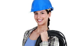 Female electrician with coil. Of wiring Stock Photography