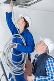 Female electrician installing wires in ceiling. Female Stock Image