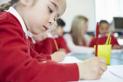 Female Elementary Pupil Working At Desk Stock Photos