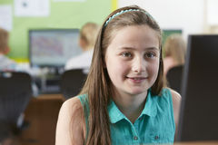 Female Elementary School Pupil In Computer Class Stock Image