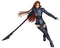 Female Elf Dragon Warrior, Fighting. Fantasy illustration of a red-haired warrior elf woman wearing dragon scale armour and fighting with a lance or spear, 3d Royalty Free Stock Image