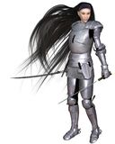 Female Elf Warrior. In shining silver armour with twin swords, 3d digitally rendered illustration Royalty Free Stock Photography