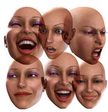 Female Emotions 2. A simple image of a set of female faces that are showing emotions Stock Image