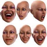 Female Emotions 4. A simple image of a set of female faces that are showing emotions Stock Photo