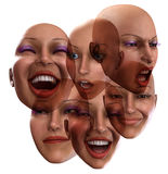 Female Emotions 5. A simple image of a set of female faces that are showing emotions Royalty Free Stock Image
