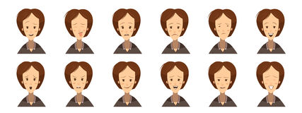 Female Emotions Avatars Set Cartoon Style. Set of avatars with female emotions including fun uncertainty gloom laugh concentration cartoon style isolated vector Stock Photography