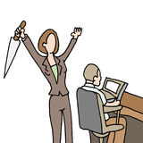 Female employee backstabbing co-worker. An image of a female employee backstabbing co-worker Stock Images