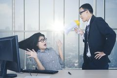 Female employee being shouted by her boss. Portrait of shocked female employee being shouted by her boss while working by the window. Shot in the office Royalty Free Stock Photos