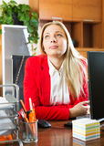 Female employee doesn't have anything to do Stock Photo