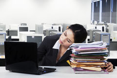Female employee sleeps in office Stock Images