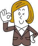 A female employee in a suit makes an approval gesture stock illustration
