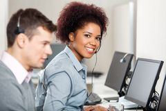 Female Employee Working In Call Center Royalty Free Stock Image