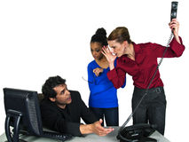 Female employees blaming male co worker. In the office, isolated on a white background stock image