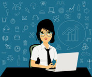 Female employees with icons Royalty Free Stock Photo