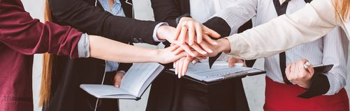 Female empowerment support team business unity. Female empowerment. Women support help unity and solidarity. Business team collaboration and friendship stock images