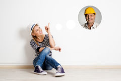 Female at empty wall Stock Photography