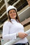 Female engineer with blueprints Stock Image