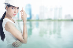 Female engineer. With blur buildings background Stock Image