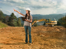 Female engineer checking construction Royalty Free Stock Image