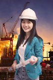 Female engineer with construction plant against building stuctur Stock Images