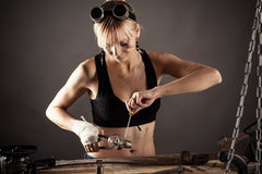 Female engineer has been repairing Stock Photos