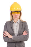 Female engineer in helmet isolated on white Royalty Free Stock Photo