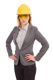 Female engineer in helmet isolated on white Stock Images