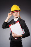 Female engineer with helmet Stock Images