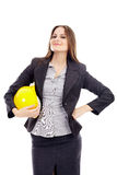 Female engineer holding helmet Royalty Free Stock Image