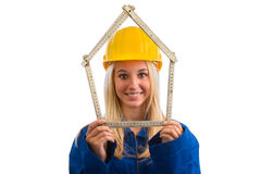 Female engineer with measure tape Stock Images