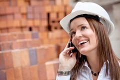 Female engineer on the phone Stock Photography