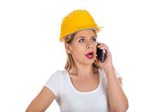 Female engineer on the phone Stock Images