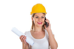 Female engineer on the phone Stock Photos