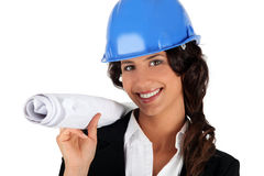 Female engineer with plans Stock Image