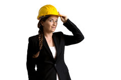 Female engineer with safety helmet over white Stock Photography