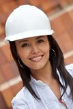 Female engineer smiling Stock Photo