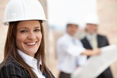 Female engineer smiling Royalty Free Stock Photo