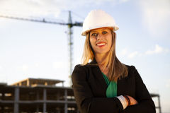 Female Engineer Standing in Front of Construction Stock Image