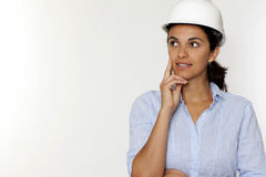 Female engineer thinking Royalty Free Stock Photos
