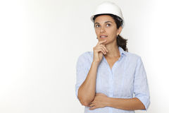 Female engineer thinking Royalty Free Stock Image