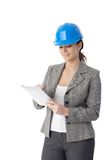 Female engineer with touchscreen computer Stock Photography