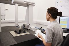 Female Engineer Uses CMM Coordinate Measuring Machine In Factory stock photos
