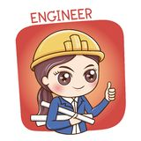 Female Engineer_vector. Illustration of cartoon character female engineer put a yellow engineer cap stock illustration