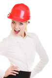Female engineer woman architect in red safety helmet isolated Royalty Free Stock Images