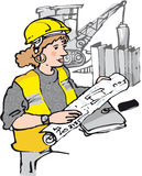Female engineer. Female worker on building site Royalty Free Stock Image