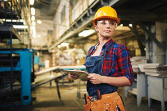 Female Engineer Working on Digital Tablet royalty free stock photography