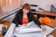 Female engineer working with a project Stock Photos
